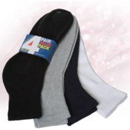 48 Bulk Boys Ankle Sock 4 Pair Value Pack Assorted Colors