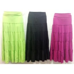 36 Bulk Long Maxi Skirt Assorted Colors And Sizes