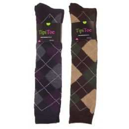 48 Bulk Women Plaid Print Color Knee High