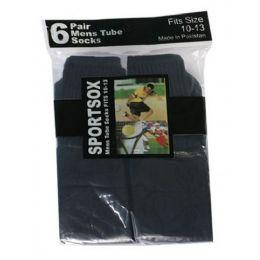 30 Bulk Mens 6 Pair Sport Tube Sock Size 10-13 Black Color Only