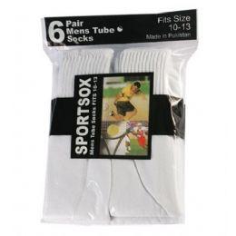30 Bulk Mens 6 Pair Sport Tube Sock Size 10-13 White Color Only