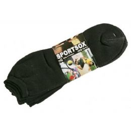 60 Bulk Mens 3 Pack Low Cut Sock Size 10-13 Black Color Only