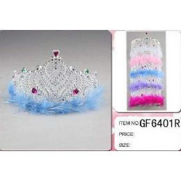 36 Bulk Wholesale Plastic Girl Crown With Feather