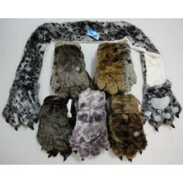 12 Bulk Faux Fur Animal Scarf With Paw Gloves