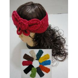 12 Bulk Hand Knitted Ear Band [solid Color Loop W Bow]