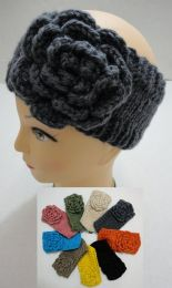 12 Bulk Hand Knitted Ear Band [solid Color Loop W Flower