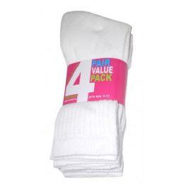 45 Bulk Girls 4 Pair Value Pack Crew Sock White Color Only
