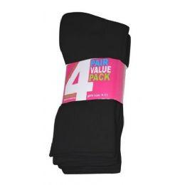 45 Bulk Girls 4 Pair Value Pack Crew Sock Black Color Only