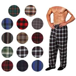 36 Bulk Men's Flannel Pajama Bottoms In Assorted Plaid Patterns And Assorted Sizes (s,m,l,xl)