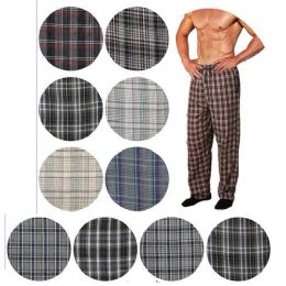 36 Bulk Men's Cotton Pajama Bottoms In Assorted Plaid Patterns And Assorted Sizes