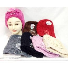 24 Bulk Knit Girl Cap Hats With A Fur Ball And Beads