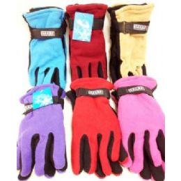 72 Bulk Lady's Fleece Gloves Assorted Colors