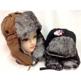 24 Bulk Faux Fur Lined Boomer Hat Unisex Winter Hats