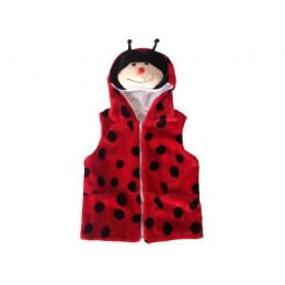 24 Bulk Kids Vest With Animal Hoodie Lady Bug