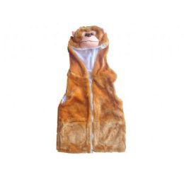 24 Bulk Kids Vest With Animal Hoodie Monkey