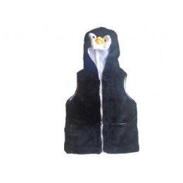24 Bulk Kids Vest With Animal Hoodie Penguin