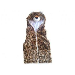 24 Bulk Kids Vest With Animal Hoodie Cheetah