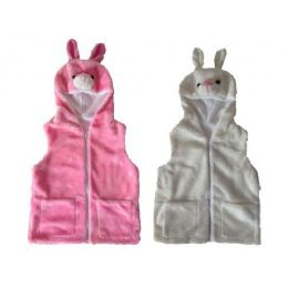 24 Bulk Kids Vest With Animal Hoodie Bunny
