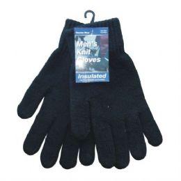 144 Bulk Winter Men Knit Glove Black Only