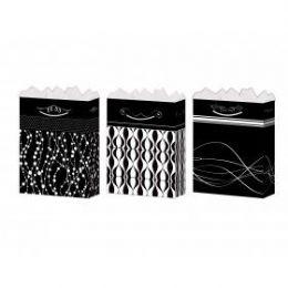144 Bulk GifT-Bag Large Gls Black/white 4 Styles