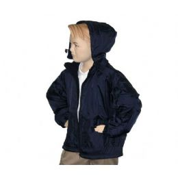12 Bulk Boys School Nylon Zip Jacket W/ Fleece Lining