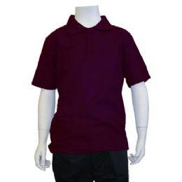 12 Bulk Boys School Uniform Polo Shirt Burgundy Color