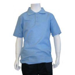 12 Bulk Boys School Uniform Polo Shirt Light Blue Color