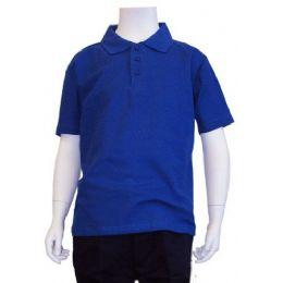 12 Bulk Boys School Uniform Polo Shirt Royal Blue Color