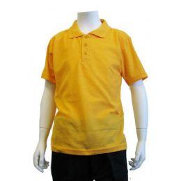 12 Bulk Boys School Uniform Polo Shirt Yellow Gold Color