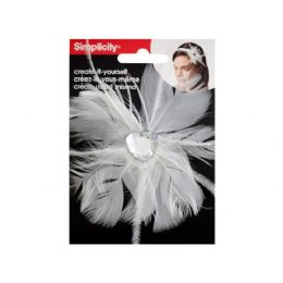 144 Bulk Simplicty White Feather W/jewel Headband Accend