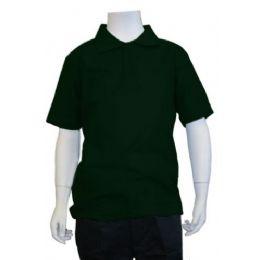 12 Bulk Boys School Uniform Polo Shirt Hunter Green
