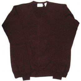 26 Bulk Adult V-Neck Pull Over Sweater Burgundy Only