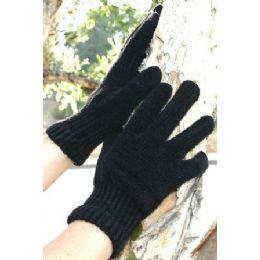 96 Bulk Ladies Black Only Chenille Gloves