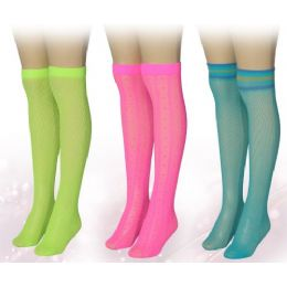 120 Bulk Ladies Neon Colored Knee High