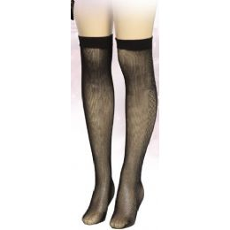 36 Bulk Ladies Black Printed Knee High
