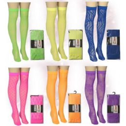 120 Bulk Ladies Neon Color Knee High Assorted Prints