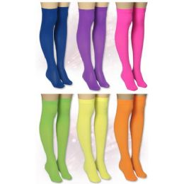 120 Bulk Ladies Solid Neon Color Knee High