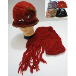 72 Bulk Hand Knitted Fashion Hat & Scarf SeT--Heart & Feather