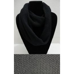 72 Bulk Knitted Loop Scarf [black Only]