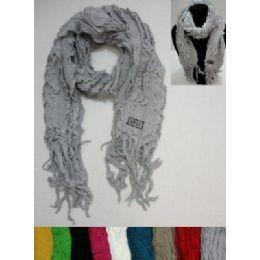72 Bulk Knitted Ruffled Scarf With Fringe
