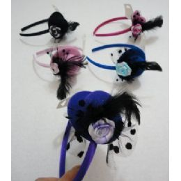 144 Bulk Fancy Hat Headband With Feathers & Rose