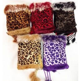 24 Bulk Fingerless Faux Fur Suede Leopard Texting Gloves
