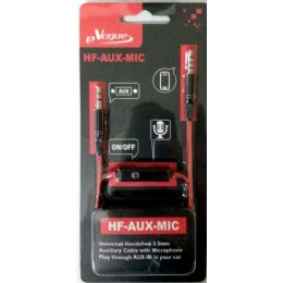 12 Bulk Stereo Handsfree 3.5mm AuX-Cable With Microphone And Phone Answer Button