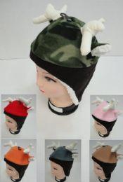 24 Bulk Kid's Fleece Hat W Antlers & Ears [fleece Lining & Ear Flaps]