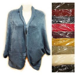 24 Bulk Knit Woman Sweater Wrap Shawl Jacket Assorted Colors