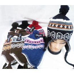 48 Bulk Knit Winter Hats With Ear Flaps Multi Color