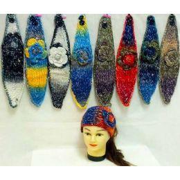 36 Bulk Knit Flower Headband MultI-Color With Sparkle