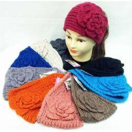 36 Bulk Knit Flower Headband Simple Design Solid Color