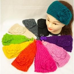 48 Bulk Knit Flower Headband Simple Design Solid Colorful