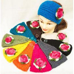48 Bulk Knit Flower Headband Green Leaf With Pink Flower